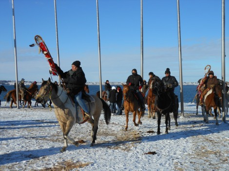 Riders Circling at the Memorial Flags on the Missouri River Dam
